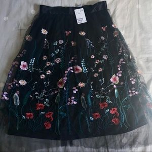 H&M Embroidered Floral Tulle Skirt